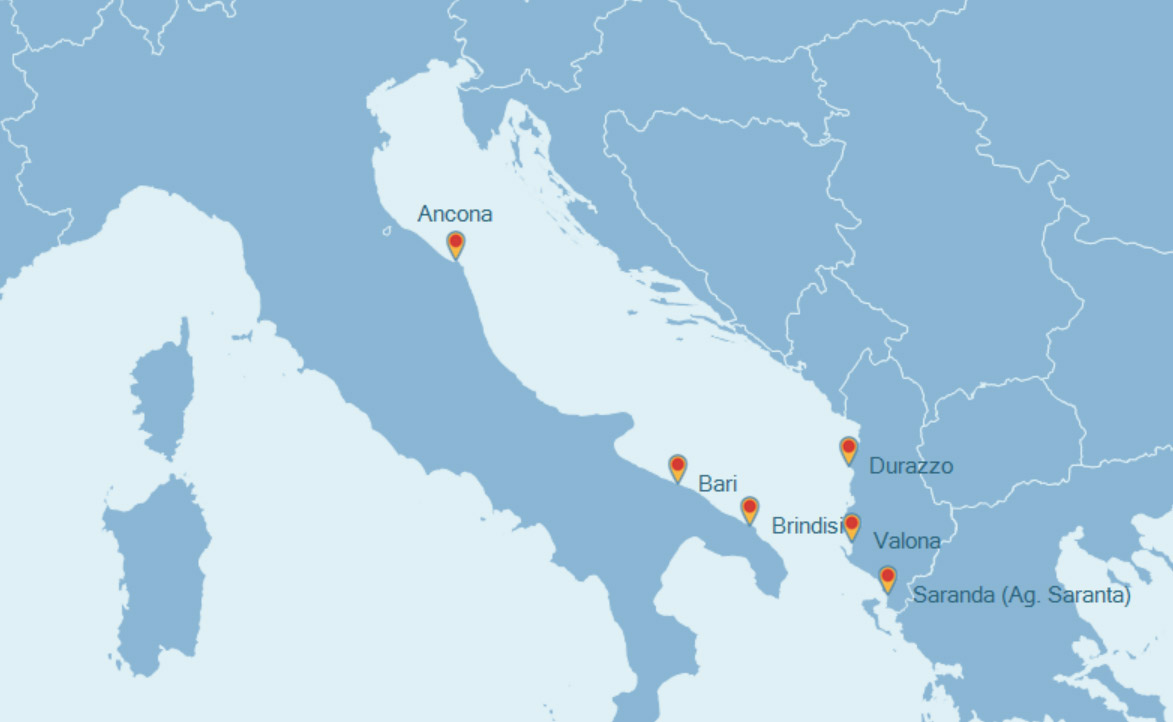 Mapa de los ferries entre Italia y Albania