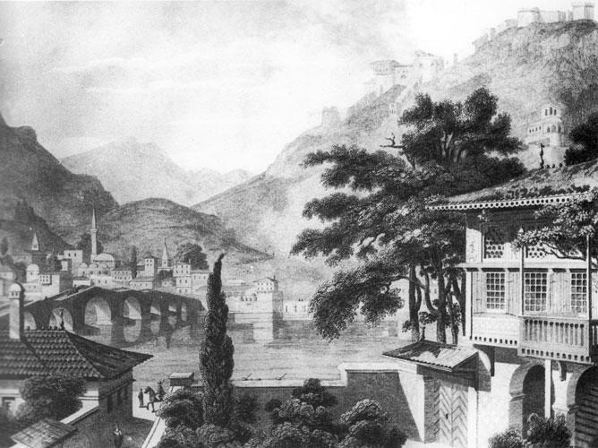 Grabado de Berat en 1813 de Charles Cockerelle