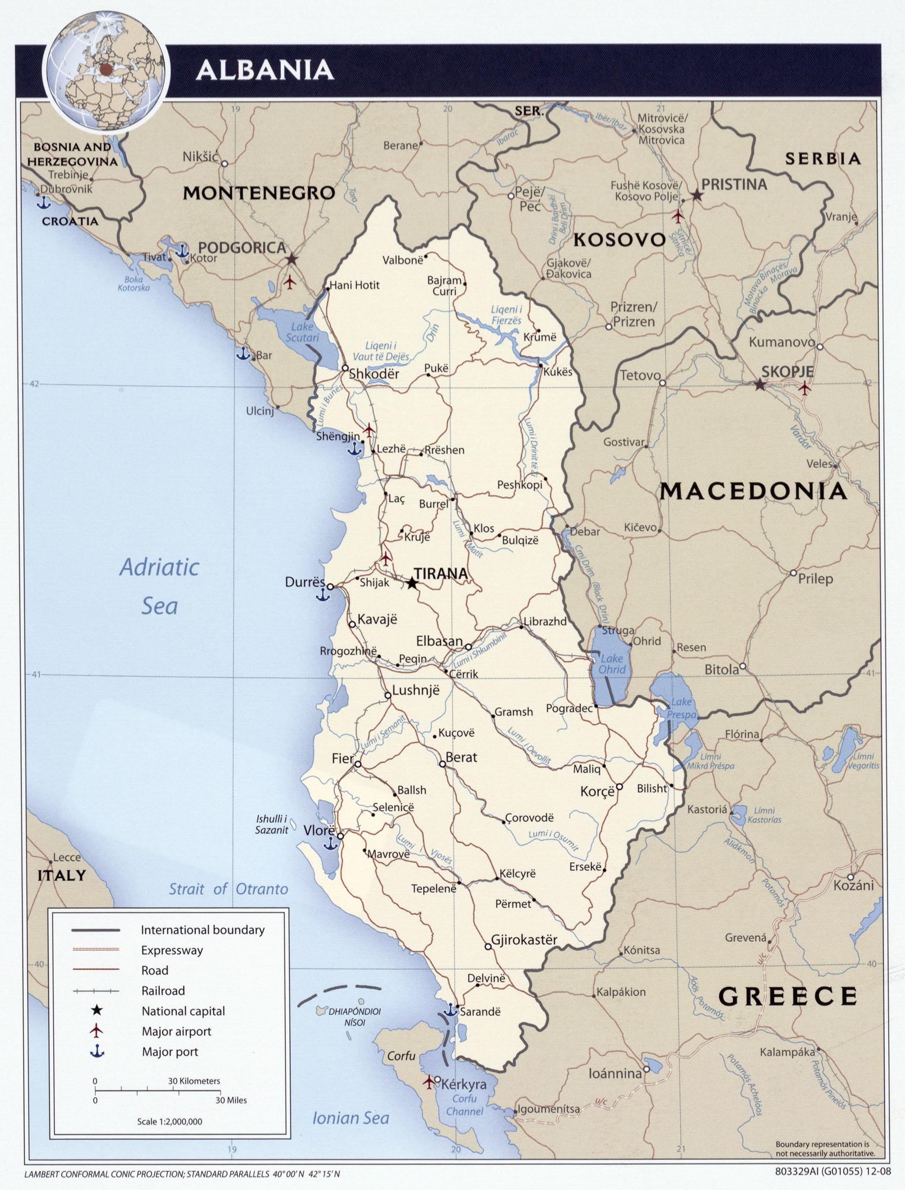 Mapa de las ciudades de Albania