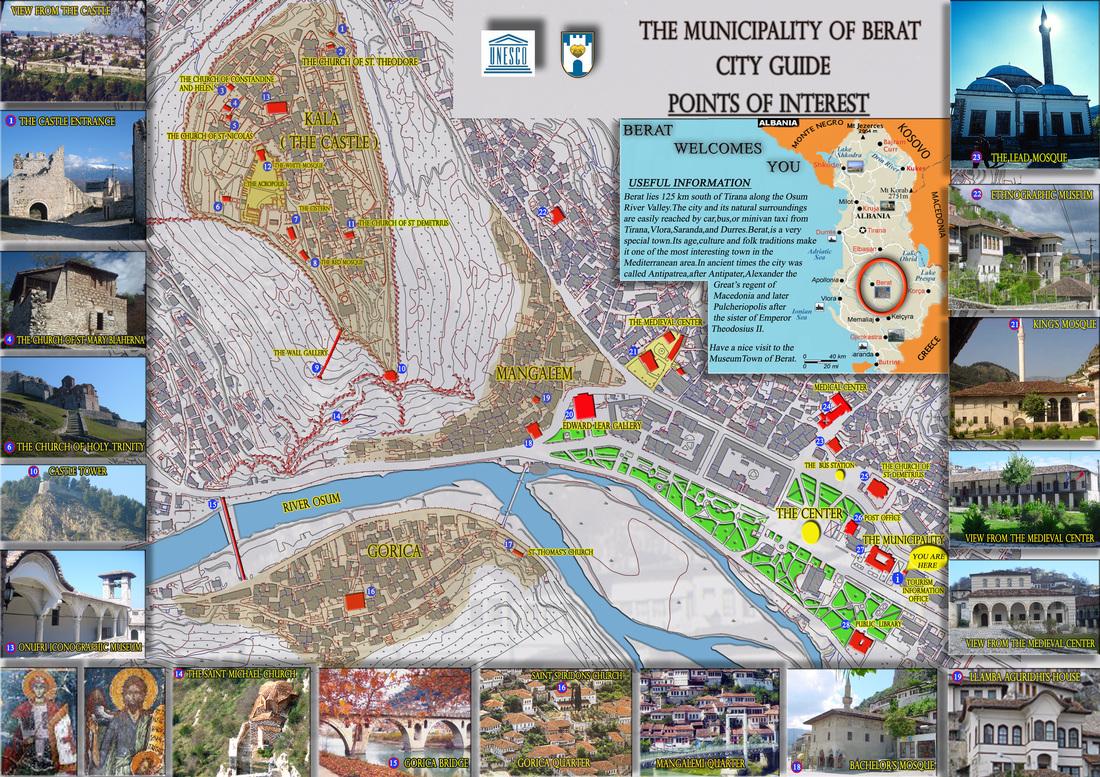 Mapa con los lugares a visitar en Berat