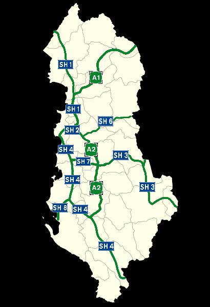 Red de carreteras y autopistas de Albania