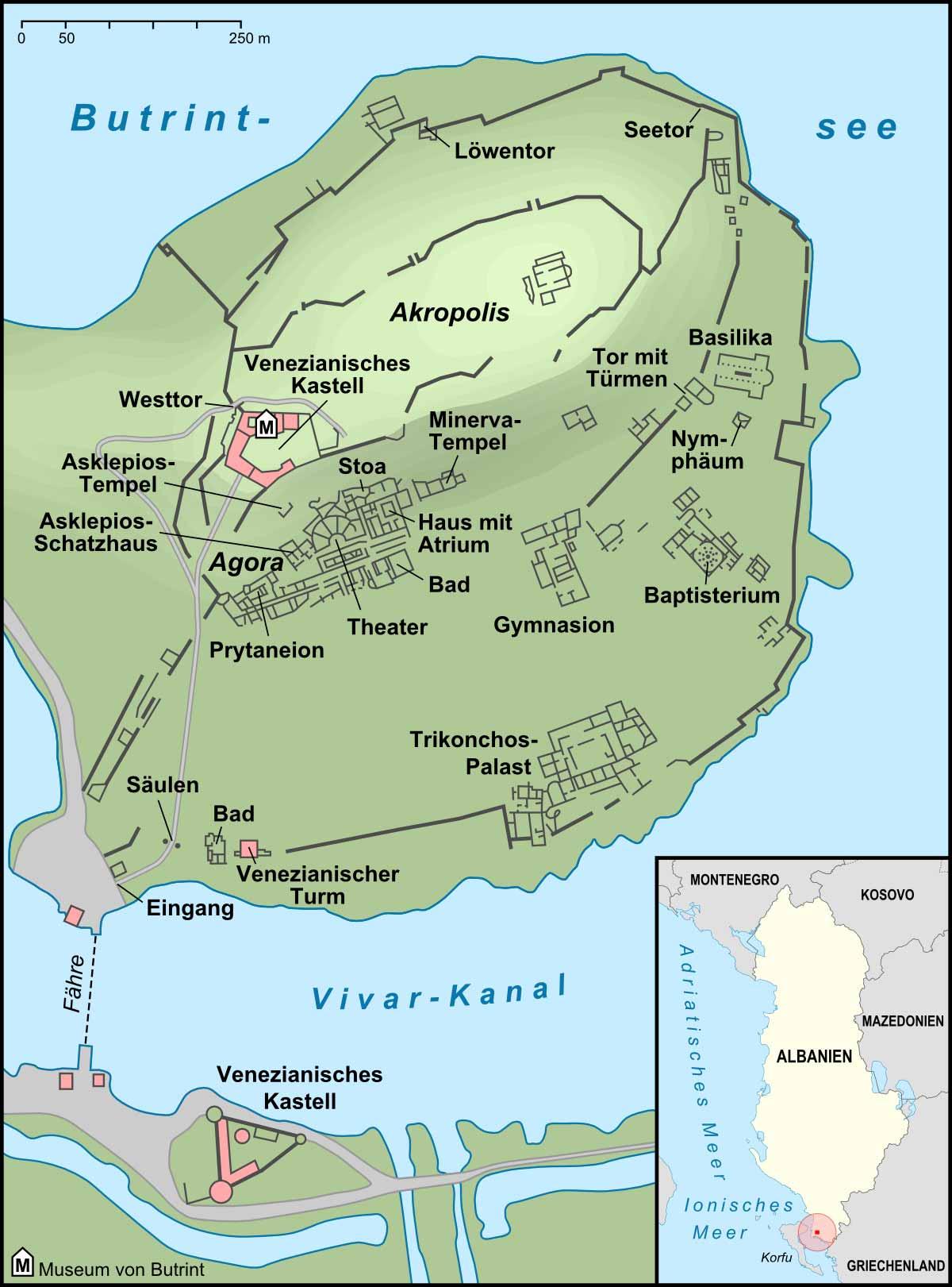 Mapa de los monumentos de Butrint