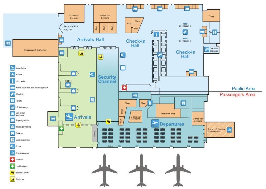 Mapa del aeropuerto de Tirana