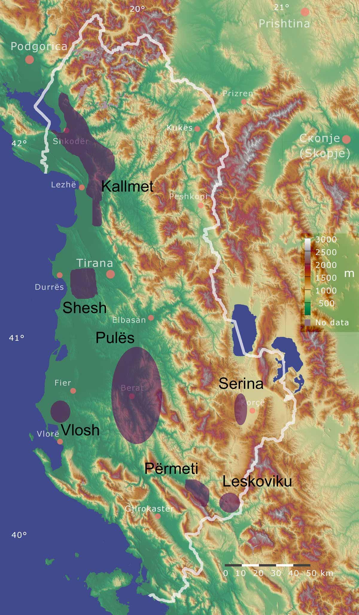 Mapa de las regiones de vino albanés